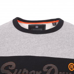 Sweat col rond Superdry Vintage Logo Panel gris chiné et noir