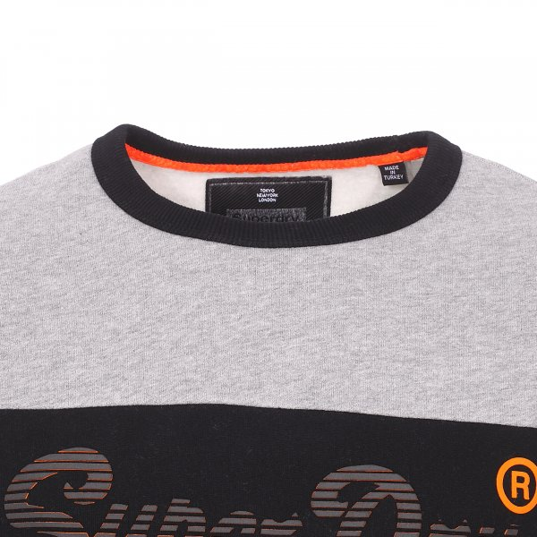 Sweat col rond Superdry Vintage Logo Panel gris et noir