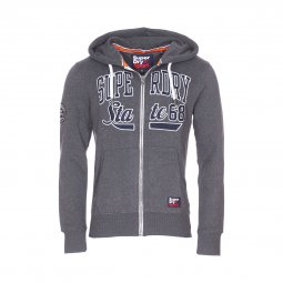 Sweat zippé à capuche Superdry Vintage Academy Sport Applique en molleton gris anthracite chiné
