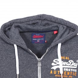Sweat zippé à capuche Superdry Vintage Authentic bleu indigo chiné