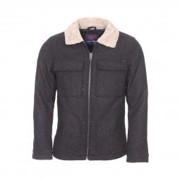 Manteau long homme gris chine