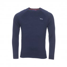 Pull col rond Superdry Orange Label en coton bleu marine