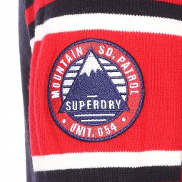 Pull col cond Superdry Oslo Racer bleu marine floqué