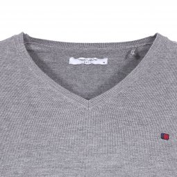 Pull col V Teddy Smith Piko gris chiné moyen