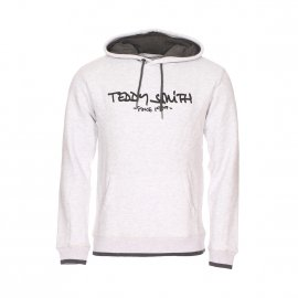 Sweat à capuche Teddy Smith Siclass en coton mélangé blanc chiné floqué