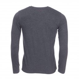 Tee-shirt col rond manches longues Teddy Smith Ticlass 3 en coton mélangé gris anthracite chiné floqué