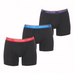 Lot de 3 boxers longs Tommy Hilfiger Boxer Brief en coton stretch noir à ceinture bleu marine, rouge et bleue