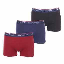 Lot de 3 boxers Tommy Hilfiger Trunk en coton stretch bleu marine, bordeaux et noir