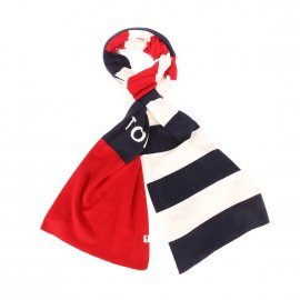 Echarpe Tommy Hilfiger Rugby à rayures bleu marine, rouges et blanches