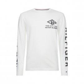 cfd799b86c731 Tee-shirt col rond manches longues Tommy Hilfiger NYC en coton biologique  écru floqué en