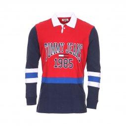 747ec2e0ffb009 Polo manches longues Tommy Jeans Retro Rugby en coton à opposition de  couleurs rouge, ...