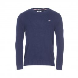 Pull col rond Tommy Jeans Classics en coton bleu marine
