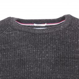 Sweat col rond Tommy Jeans Textural en mailles gris anthracite chiné
