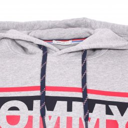 Sweat à capuche Tommy Jeans Essential Graphic en coton gris clair chiné floqué