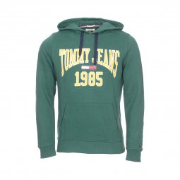 Sweat à capuche Tommy Jeans Essential Graphic vert floqué en jaune