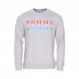 434742ca98f606 Sweat col rond Tommy Jeans Essential Graphic en coton gris chiné floqué ...