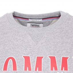 Sweat col rond Tommy Jeans Essential Graphic en coton gris chiné floqué