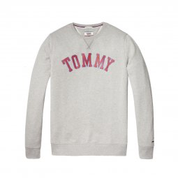 Sweat col rond Tommy Jeans Essential Graphic en coton gris clair chiné floqué
