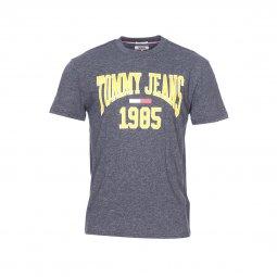 adadfd6623ae3 Tee-shirt col rond Tommy Jeans Collegiate en coton mélangé flammé bleu  grisé ...