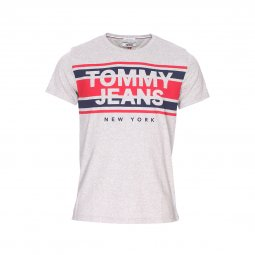 363fee172b235 Tee-shirt col rond Tommy Jeans Cut Out Stripe en coton gris chiné floqué ...