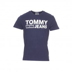 Tee-shirt col rond Tommy Jeans Essential Logo bleu marine floqué