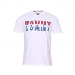 Tee-shirt col rond Tommy Jeans Split Logo en coton blanc floqué ... 442d204afacf
