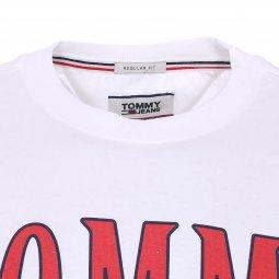 ... Tee-shirt col rond Tommy Jeans Split Logo en coton blanc floqué ... 5a1917fd8e50