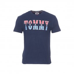Tee-shirt col rond Tommy Jeans Split Logo en coton bleu marine floqué ... 47882b575b28