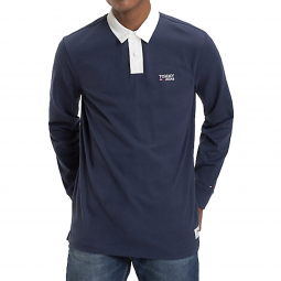 Polo manches longues Tommy Jeans Essential Rugby en coton bleu marine