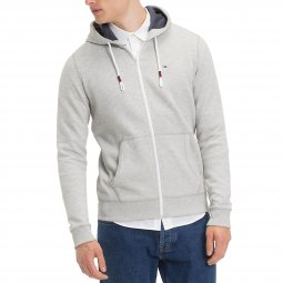 Sweat zippé à capuche Tommy jeans gris clair chiné