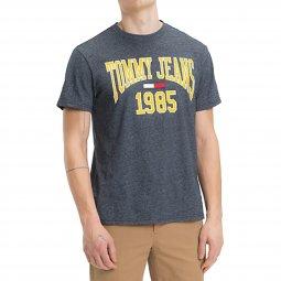 ... Tee-shirt col rond Tommy Jeans Collegiate en coton mélangé flammé bleu  grisé ... 3c927ed36d6b
