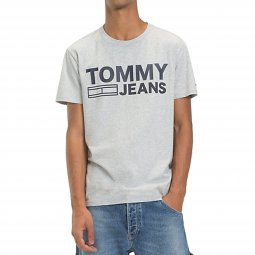 Tee-shirt col rond Tommy Jeans Essential Logo gris clair chiné floqué