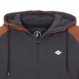 Sweat à capuche zippé Volcom Homak en molleton gris anthracite et marron chiné