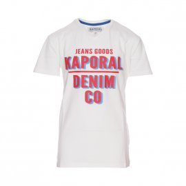 Tee-shirt col V Kaporal Junior Arrow en coton stretch blanc floqué en rouge et bleu azur