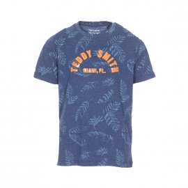 Tee-shirt col rond Teddy Smith Junior Taos en coton mélangé bleu pétrole à flocage orange