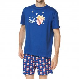Pyjama court Arthur James en coton : tee-shirt col rond bleu pétrole et short à motifs pop corn
