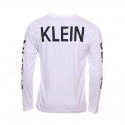 8020b5f047b8c ... Tee-shirt col rond manches longues Calvin Klein Jeans Institutional  Back Print en coton blanc