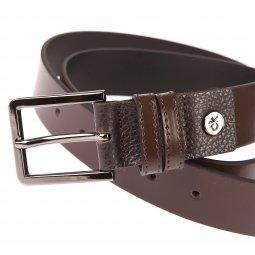 680a7be9da1 ... Ceinture ajustable Calvin Klein Jeans Double Loop en cuir véritable  marron à double passant et boucle