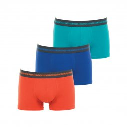 Lot de 3 boxers Eminence en coton stretch orange, bleu indigo et turquoise