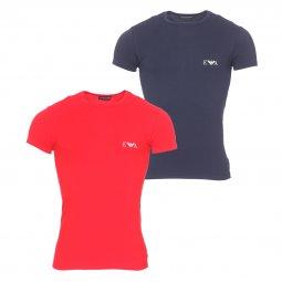 6acdebff1828 Lot de 2 tee-shirts col rond Emporio Armani en coton stretch bleu marine et  ...