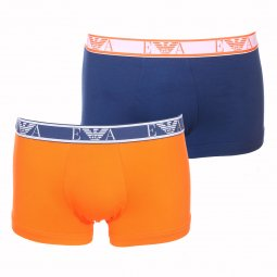 Lot de 2 boxers Emporio Armani en coton stretch bleu pétrole et orange