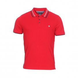Polo Guess Claud en coton stretch piqué rouge