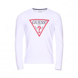 Sweat col rond Guess Jared en coton stretch blanc