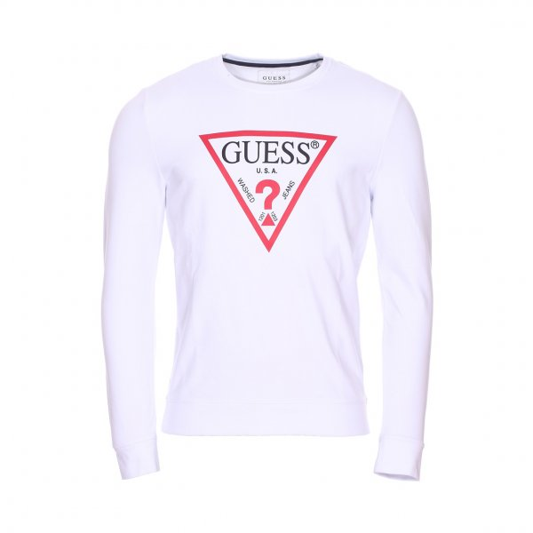 Sweat Guess Jared Fleece blanc en coton