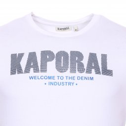 Tee-shirt col rond Kaporal Niyoo en coton stretch blanc à flocage relief