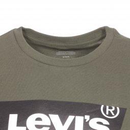 049b8a40f11b3 ... Tee-shirt col rond Levi's Housemark Graphic en coton kaki floqué ...
