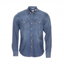 ab73340dc69c Chemise en jean ajustée Levi s Barstow Western en coton mélangé stretch  bleu à effet délavé ...