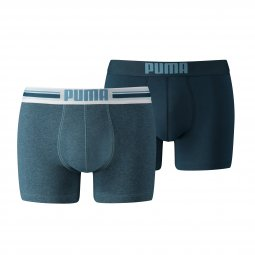 Lot de 2 boxers Puma Placed Logo en coton stretch bleu chiné et bleu pétrole