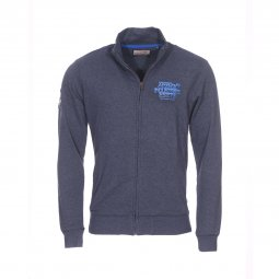 Sweat zippé Petrol Industries en molleton bleu marine floqué