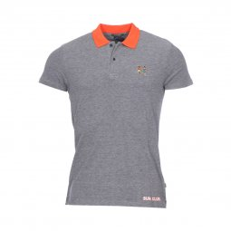 Polo Scotch and Soda Two Tone en piqué de coton gris chiné à détails contrastants orange
